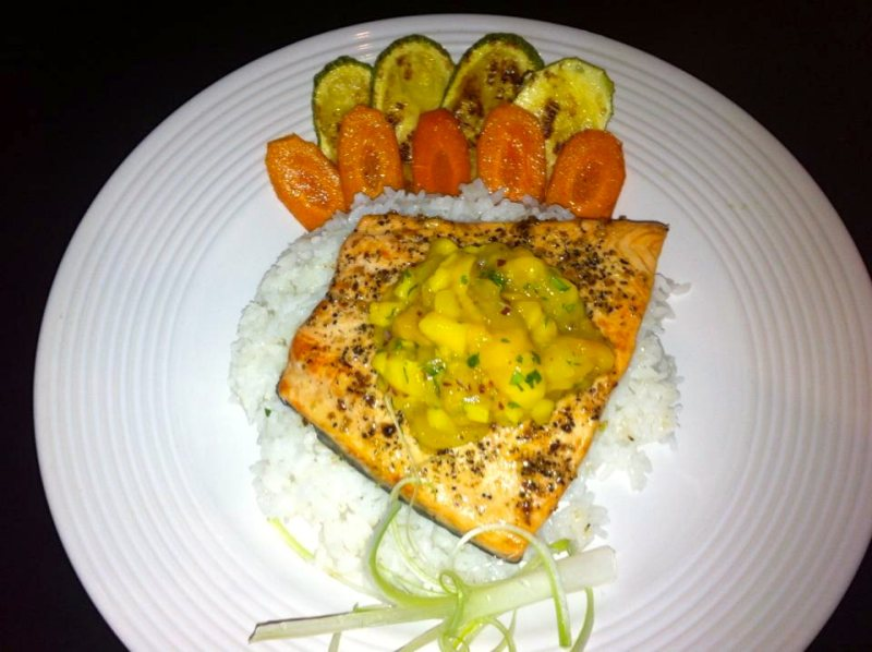 Alaskan Salmon at Parrots Cracker restaurant San Felipe