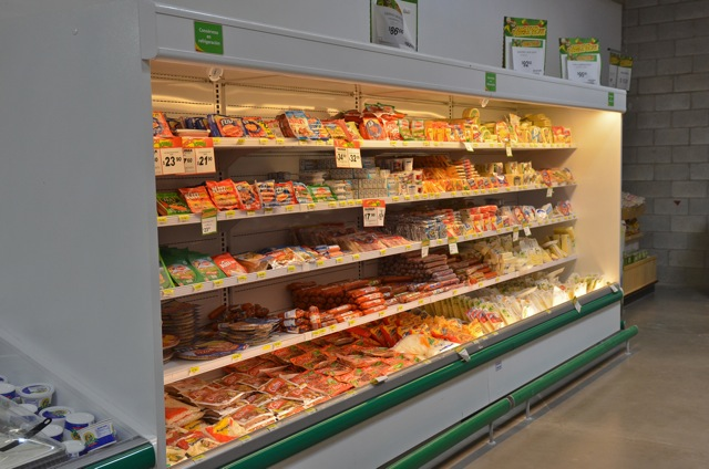 Shelves with produce in Bodega Aurrera San Felipe