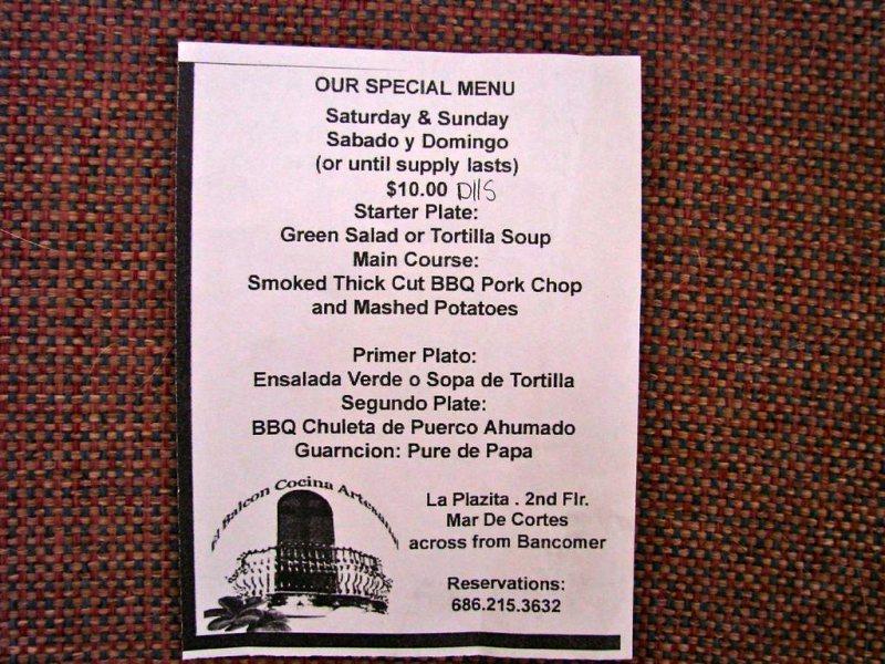 El Balcon Cocina Artesanal restaurant special menu