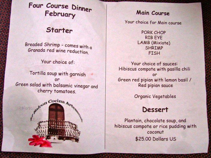 El Balcon Cocina Artesanal restaurant four course menu