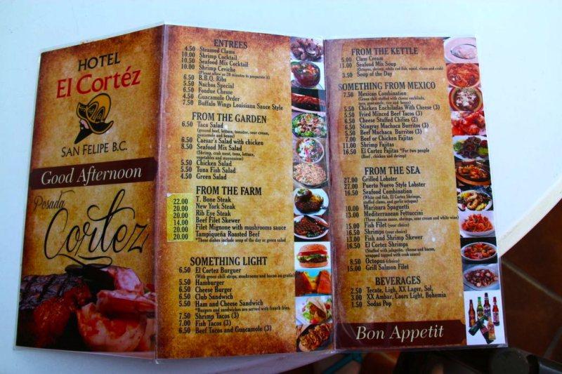 El Cortez San Felipe Restaurant Menu