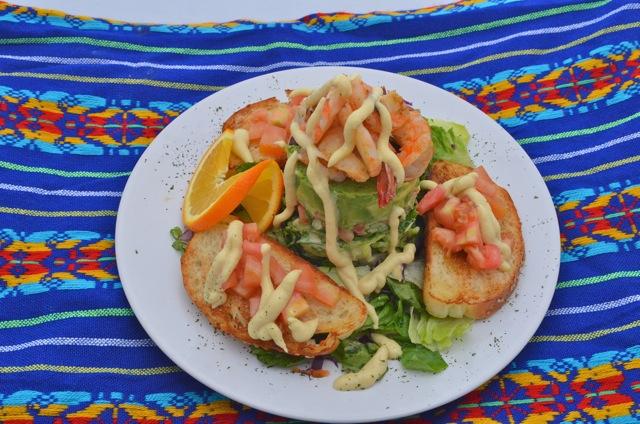 Breakfast shrimp plate at the Pavilion