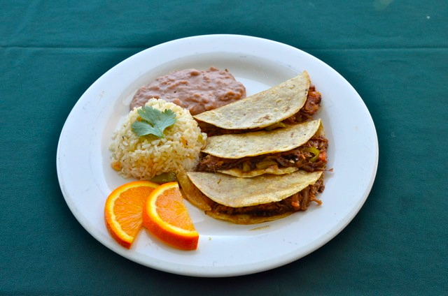 rice and beans restaurant taco plate