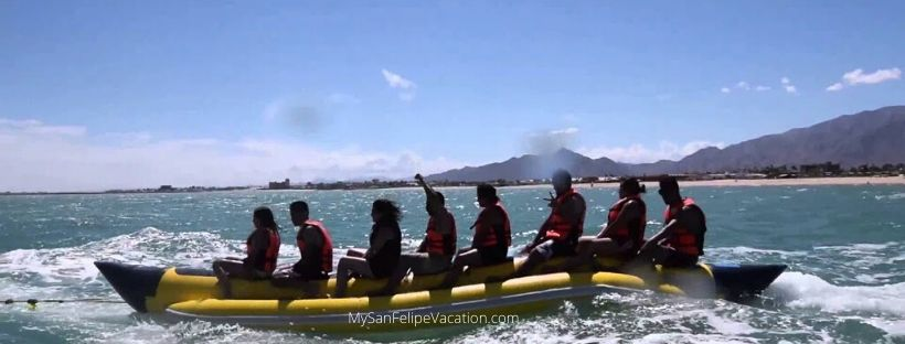 Ride banana and sombrero inflatables on vacation in San Felipe