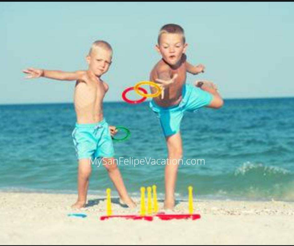 Ring toss game for kids on vacation in San Felipe