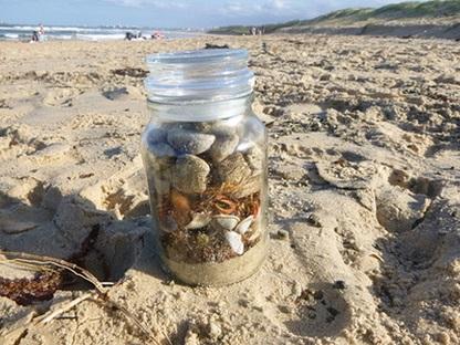 Creating a beach treasure jar on the beach in San Felipe