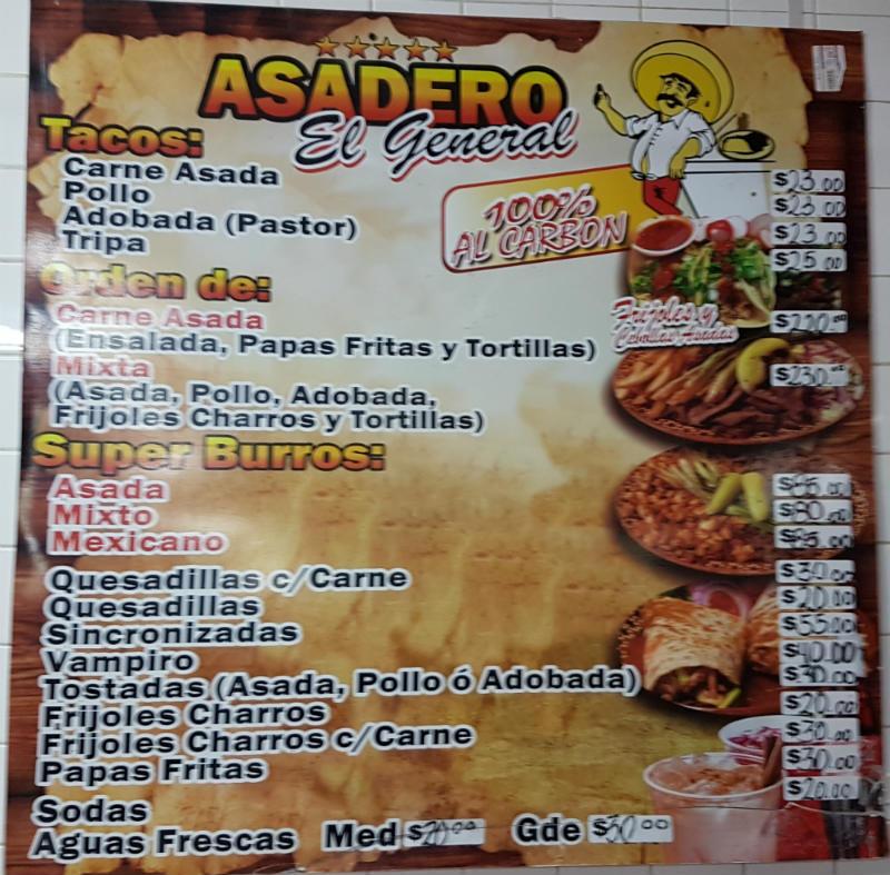 Asadero El General Restaurant San Felipe - Menu