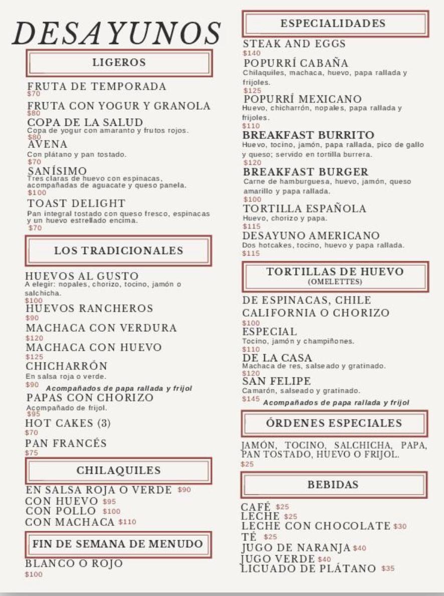 La Cabana restaurant San Felipe - Breakfast menu