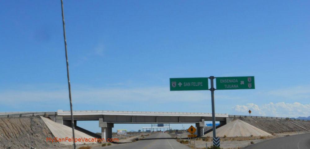 San Felipe road sign along Highway 5