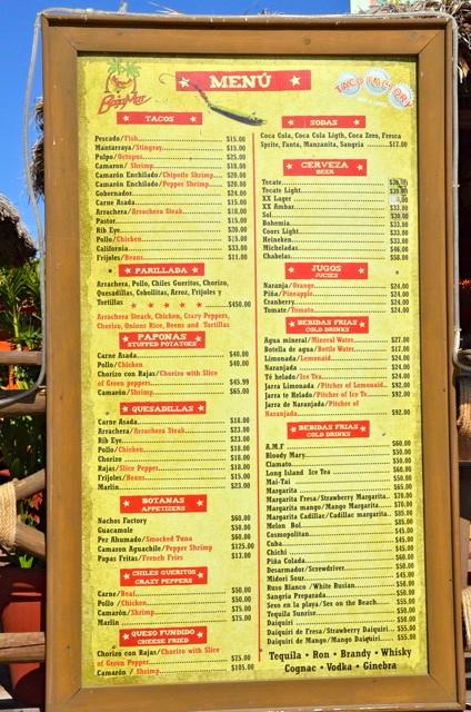 Taco factory restaurant menu